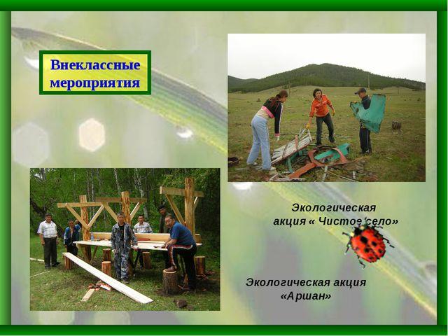 Внеклассные мероприятия Экологическая акция « Чистое село» Экологическая акци...
