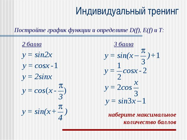 Индивидуальный тренинг Постройте график функции и определите D(f), E(f) и T:...