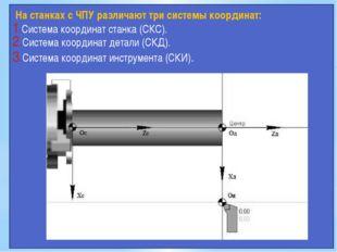 На станках с ЧПУ различают три системы координат: Система координат станка (