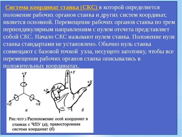 Система координат станка (СКС) в которой определяется положение рабочих орга...