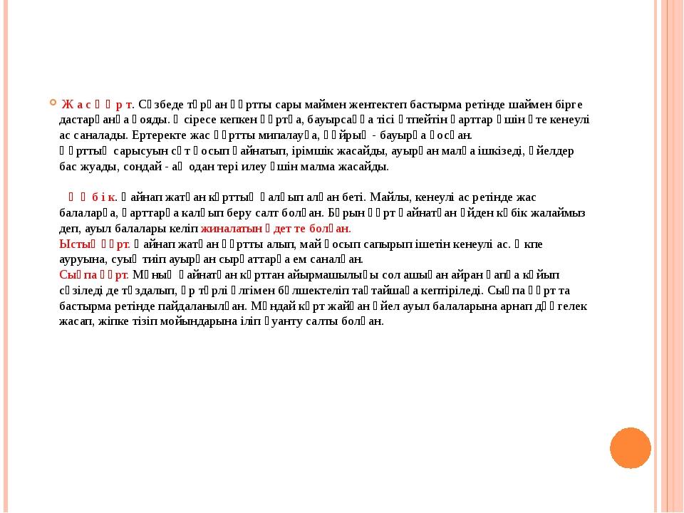 Ж а с қ ұ р т. Сүзбеде тұрған құртты сары маймен жентектеп бастырма ретінде...