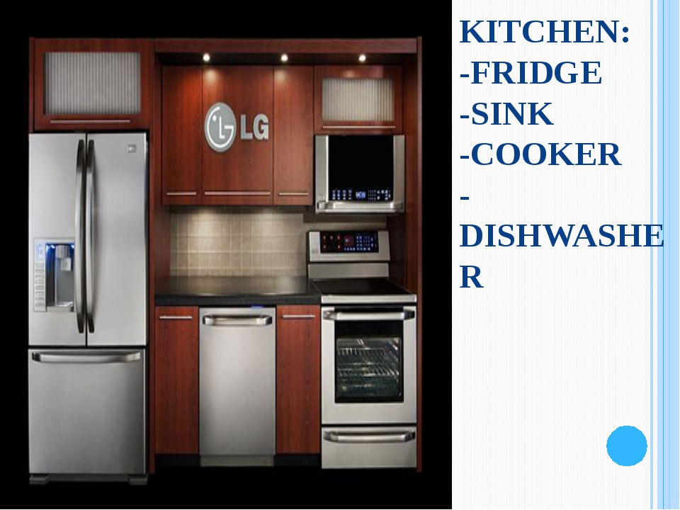 KITCHEN: -FRIDGE -SINK -COOKER -DISHWASHER