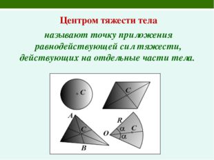 Центром тяжести тела называют точку приложения равнодействующей сил тяжести,