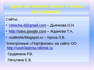 Здесь вы можете узнать о наших достижениях: Сайты: Vetocha.d@gmail.com – Дьяч