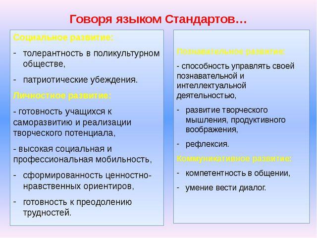 Говоря языком Стандартов… Социальное развитие: толерантность в поликультурном...