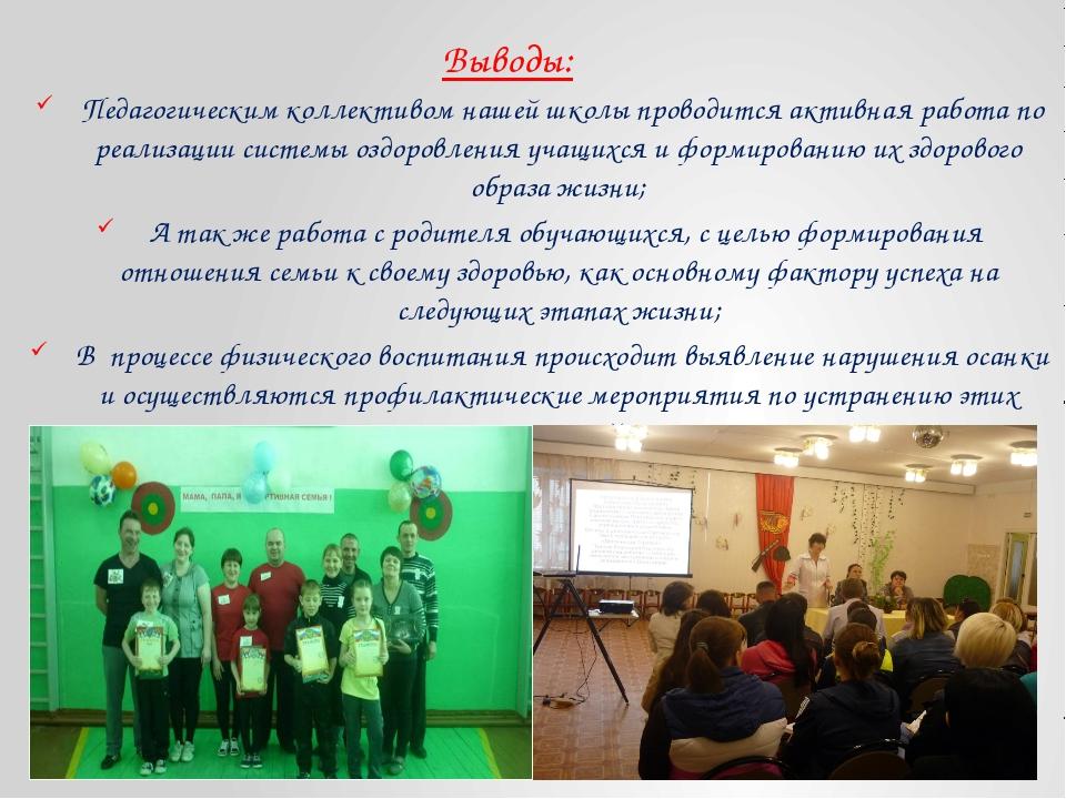 Выводы: Педагогическим коллективом нашей школы проводится активная работа по...
