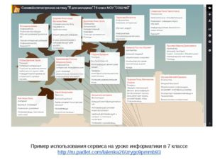 Пример использования сервиса на уроке информатики в 7 классе http://ru.padlet