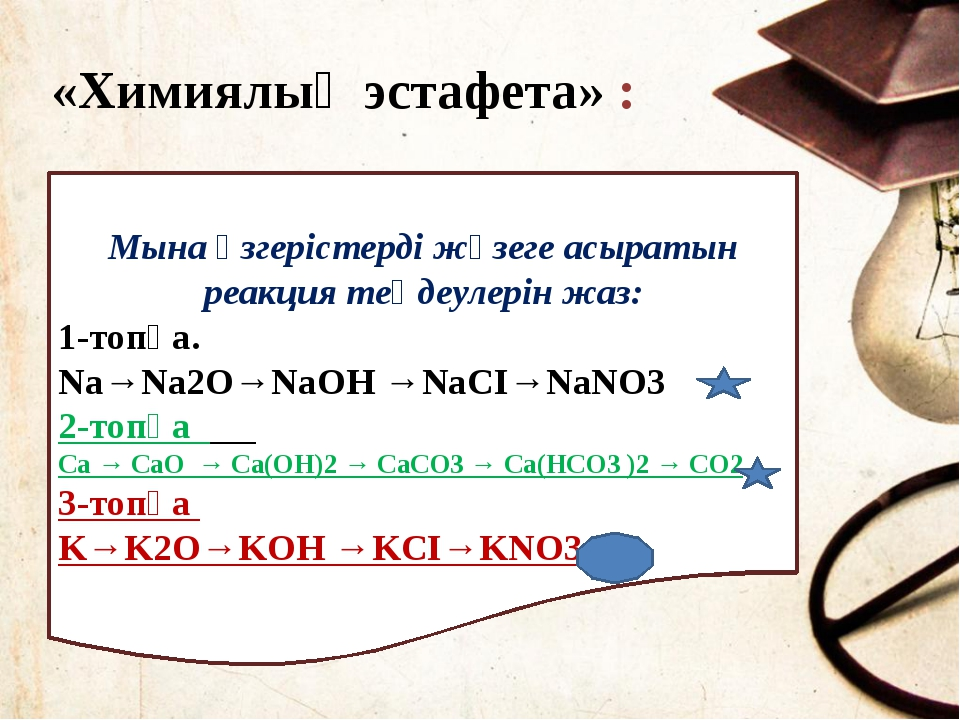 2Ca + O2 → 2CaO CaO + H2O → Ca(OH)2 Ca(OH)2 + CО2→ CaCО3 ↓ + H2O CaCО3+ CO2 +...