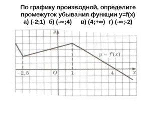 По графику производной, определите промежуток убывания функции y=f(x) а) (-2;