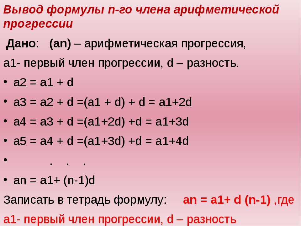 Вывод формулы n-го члена арифметической прогрессии Дано: (аn) – арифметическ...