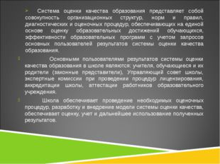 Система оценки качества образования представляет собой совокупность организа