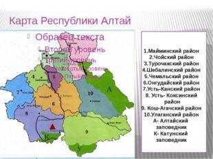 Карта Республики Алтай 1.Майминский район 2.Чойский район 3.Турочакский район
