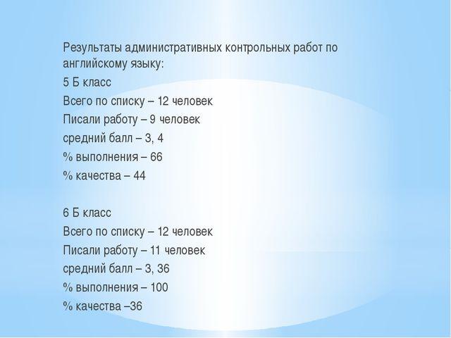 Результаты административных контрольных работ по английскому языку: 5 Б класс...
