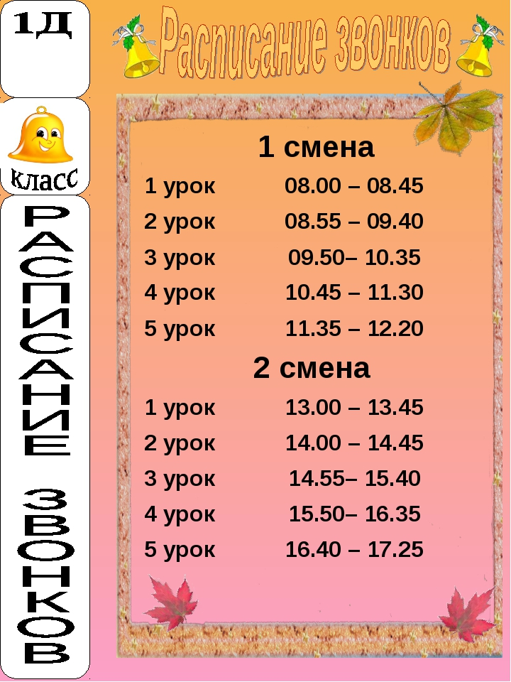 1 смена 1 урок08.00 – 08.45 2 урок08.55 – 09.40 3 урок09.50– 10.35 4 уро...