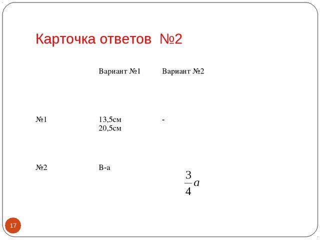 Карточка ответов №2 * Вариант №1Вариант №2 №113,5см 20,5см- №2В-а
