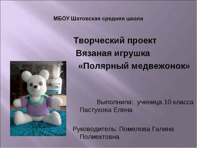 Творческий проект Вязаная игрушка «Полярный медвежонок» Выполнила: ученица 1...