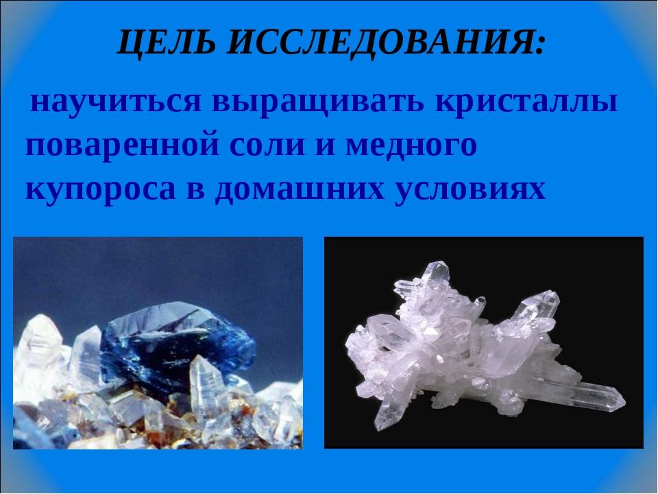 ЦЕЛЬ ИССЛЕДОВАНИЯ: научиться выращивать кристаллы поваренной соли и медного к...