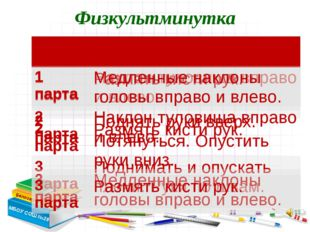 Белозерова Е.С. Физкультминутка МБОУ СОШ №28 № парты Упражнения 1 парта Накло