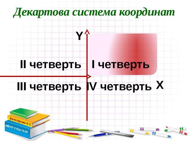 Декартова система координат Белозерова Е.С. МБОУ СОШ №28 Х Y I четверть III...