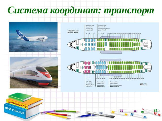 Система координат: транспорт Белозерова Е.С. МБОУ СОШ №28