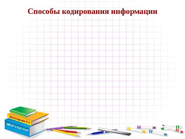 Способы кодирования информации Белозерова Е.С. МБОУ СОШ №28