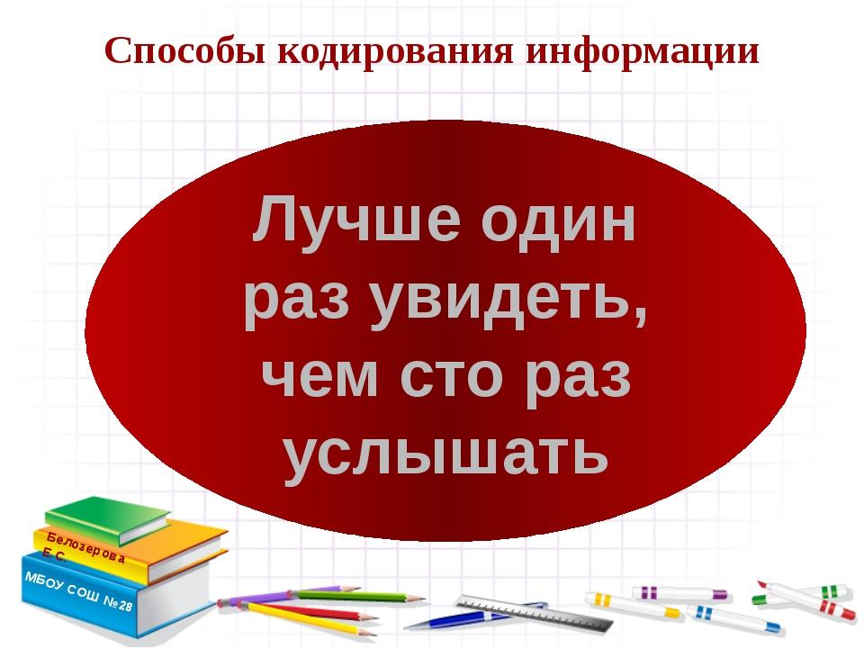 Способы кодирования информации Белозерова Е.С. МБОУ СОШ №28 Лучше один раз у...