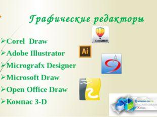 Графические редакторы Corel Draw Adobe Illustrator Micrografx Designer Micros