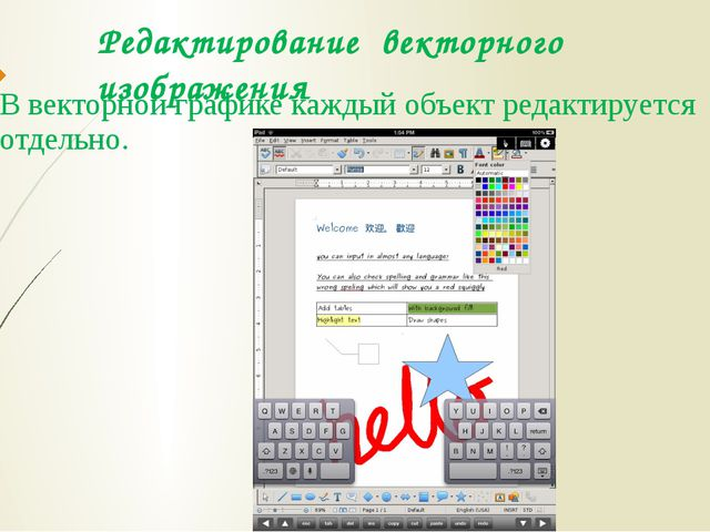 Редактирование векторного изображения В векторной графике каждый объект редак...