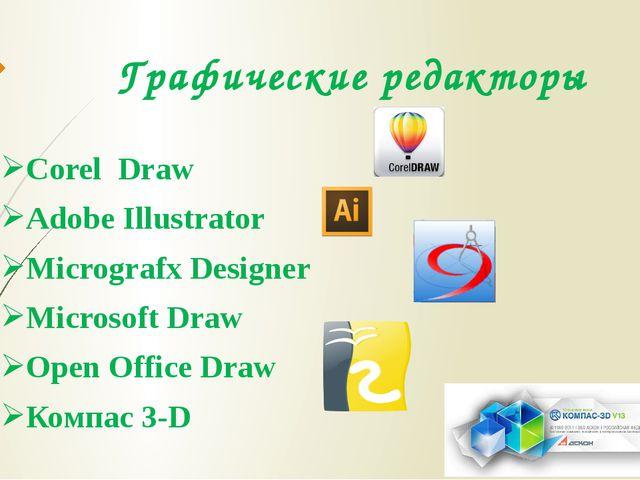 Графические редакторы Corel Draw Adobe Illustrator Micrografx Designer Micros...