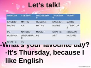 Let's talk! -What's your favourite day? -It's Thursday, because I like Englis