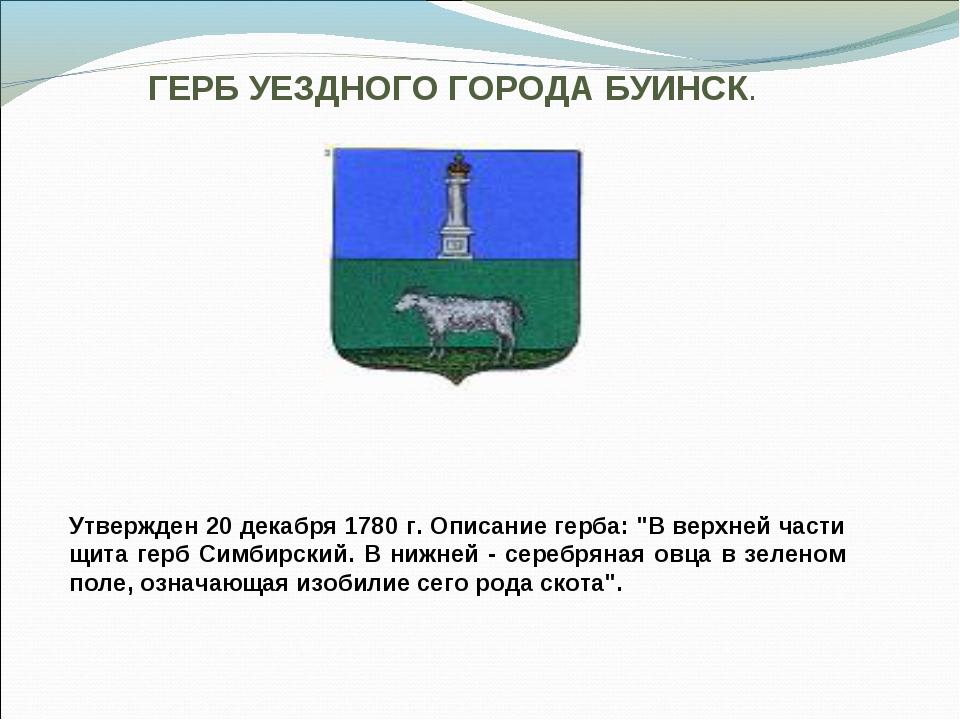 """ГЕРБ УЕЗДНОГО ГОРОДА БУИНСК. Утвержден 20 декабря 1780 г. Описание герба: """"В..."""