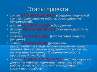 Этапы проекта: I этап ОРГАНИЗАЦИОННЫЙ (создание творческой группы, планирован