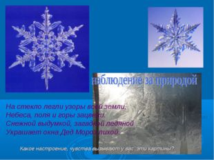 На стекло легли узоры всей земли, Небеса, поля и горы зацвели. Снежной выдумк