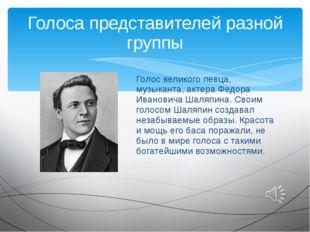 Голос великого певца, музыканта, актера Федора Ивановича Шаляпина. Своим голо