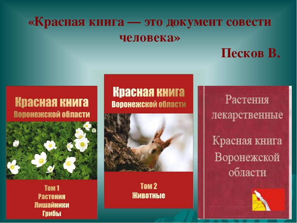 «Красная книга — это документ совести человека» Песков В.