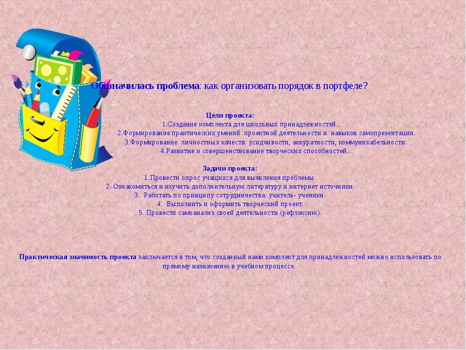 Обозначилась проблема: как организовать порядок в портфеле? Цели проекта: 1.С...