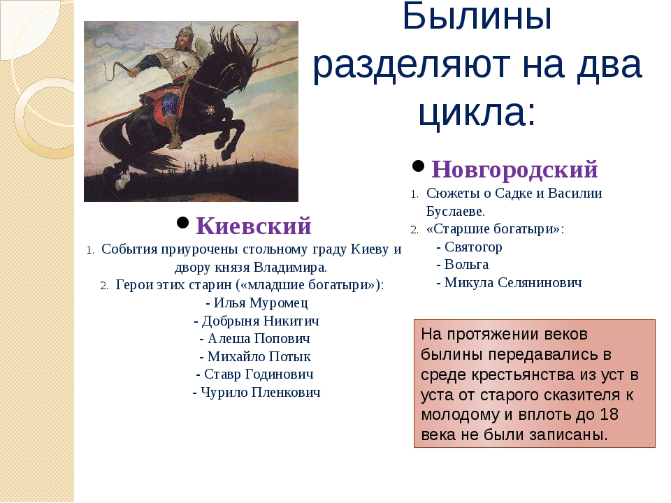 Былины разделяют на два цикла: Киевский События приурочены стольному граду Ки...