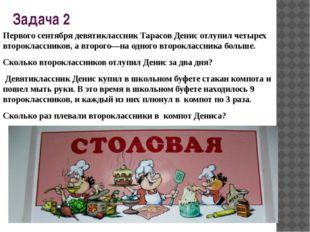 Задача 2 Первого сентября девятиклассник Тарасов Денис отлупил четырех второк