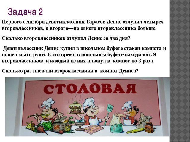Задача 2 Первого сентября девятиклассник Тарасов Денис отлупил четырех второк...