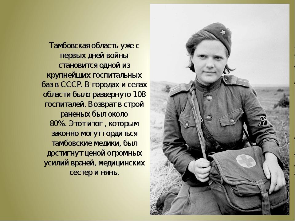Тамбовская область уже с первых дней войны становится одной из крупнейших гос...