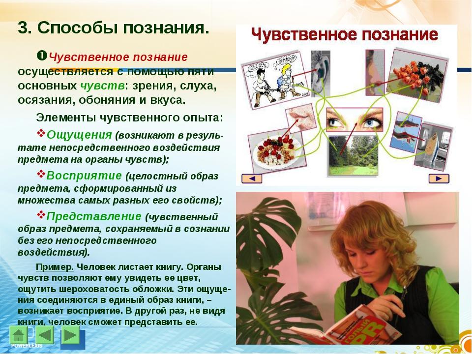 3. Способы познания. Чувственное познание осуществляется с помощью пяти основ...