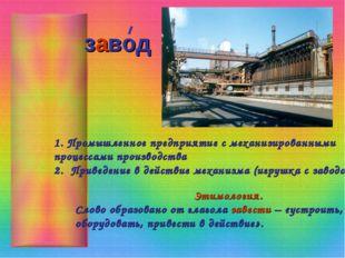 завод Промышленное предприятие с механизированными процессами производства 2.
