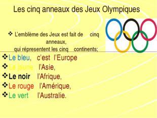 Les cinq anneaux des Jeux Olympiques L'emblème des Jeux est fait de cinq anne