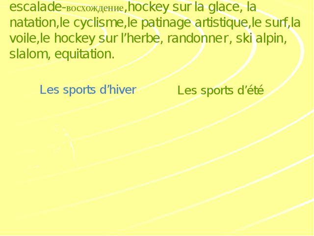 Заполнитe таблицу видами спорта: escalade-восхождение,hockey sur la glace, l...