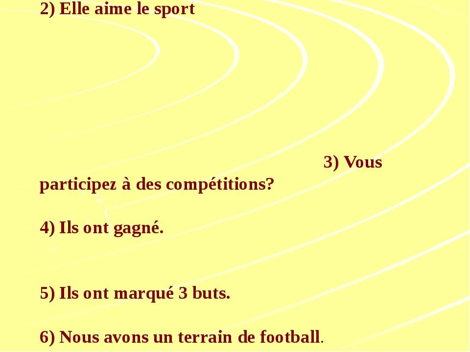 Traduisez les phrases: 1.Est-ce que vous faites du sport? 2) Elle aime le spo...