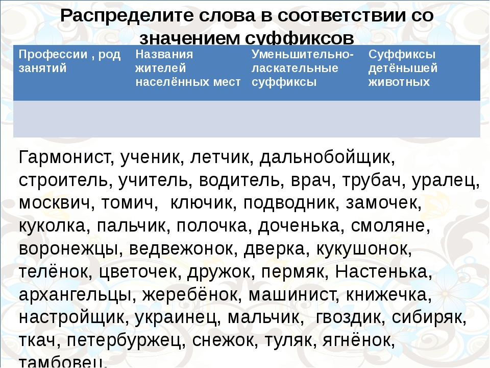 сибиряк, Распределите слова в соответствии со значением суффиксов Гармонист,...