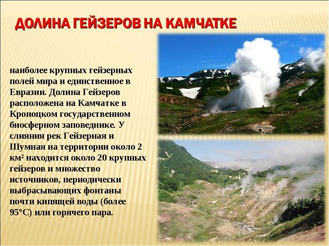Доли́на ге́йзеров — это одно из наиболее крупных гейзерных полей мира и единс...