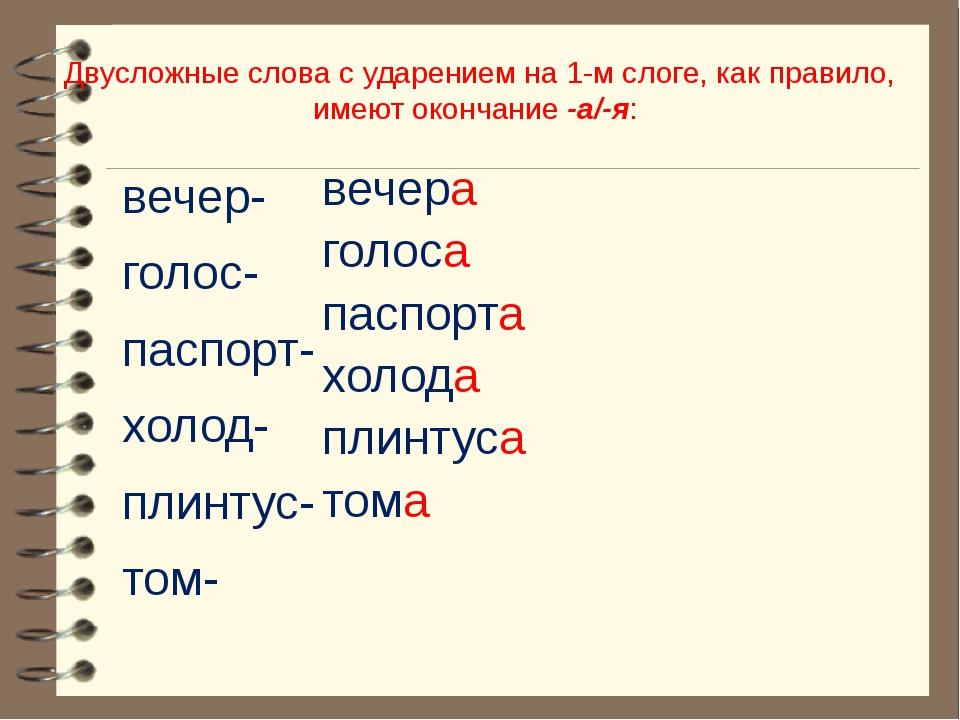 Двусложные слова с ударением на 1-м слоге, как правило, имеют окончание -а/-я...