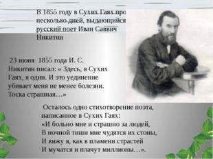 В 1855 году в Сухих Гаях провёл несколько дней, выдающийся русский поет Иван