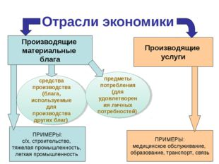 Отрасли экономики Производящие материальные блага Производящие услуги ПРИМЕРЫ